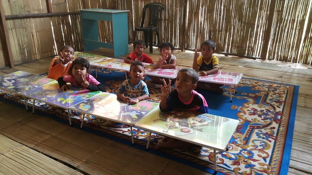 Children in their new pre-school