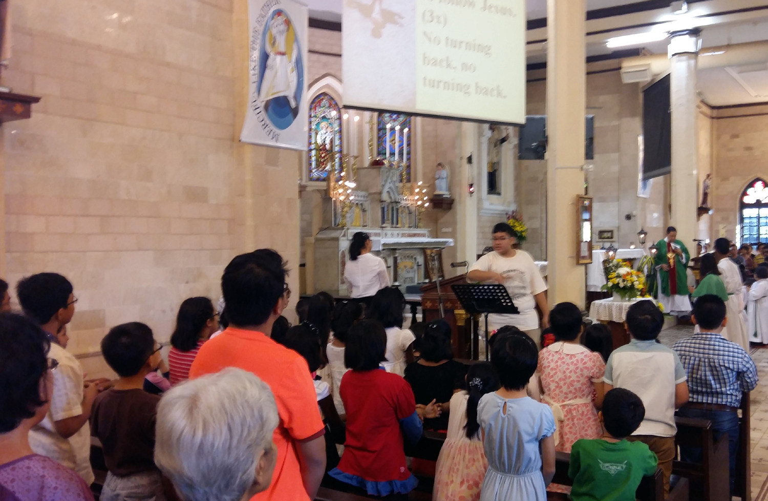 IJCC in action on Sunday morning Children's mass