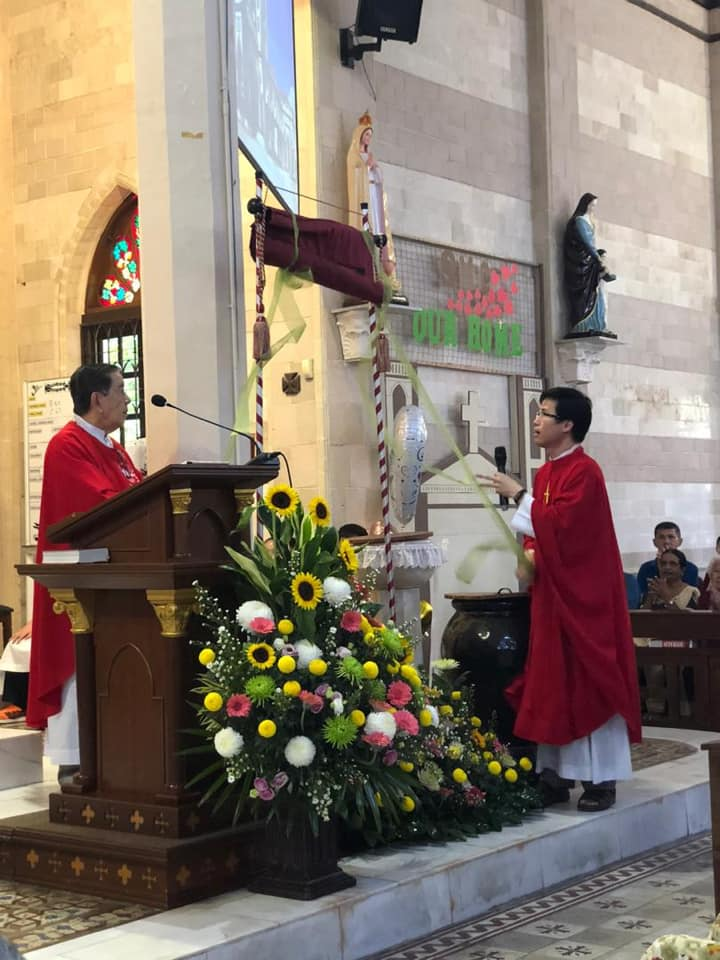 Fr Robin Andrews and Fr Anthony Liew on launching of SMC's 130th Anniversary celebrations